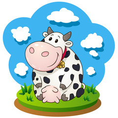 Friendly cartoon cow sitting on the grass. Vector clip art illustration with simple gradients.