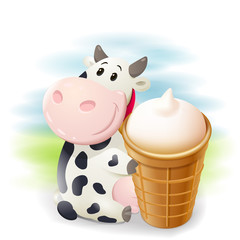 Cartoon chubby cow with ice cream. Vector clip art illustration with simple gradients.