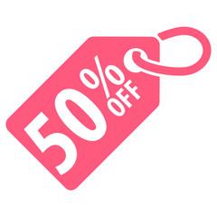50 percent Off tag. Vector illustration.