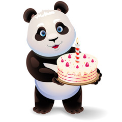 Panda holding birthday cake. Vector clip art illustration with simple gradients.