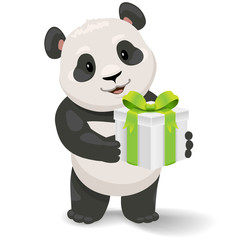 Panda holding ice cream. Vector clip art illustration with simple gradients.