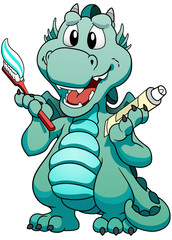 Cute mint baby dragon with toothpaste.