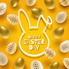 Easter greeting card. Cut from paper silhouette of a rabbit's head with Easter greeting and decorated eggs on a yellow background. Vector illustration