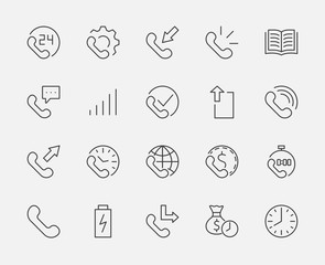 Set of phone vector line icons. It contains the symbols of incoming, outgoing, missed calls, global call and round the clock online support and much more. Editable move. 32x32 pixels.
