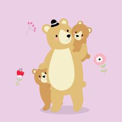 Cartoon cute Daddy bear is walking with little bears vector.