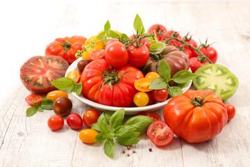 colorful tomato and basil