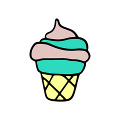 Sweet cartoon hand drawn ice cream. Cute vector colorful doodle ice cream. Isolated funny ice cream drawing on white background.