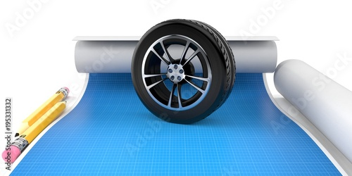 Car wheel with blueprint stock photo and royalty free images on car wheel with blueprint malvernweather Gallery