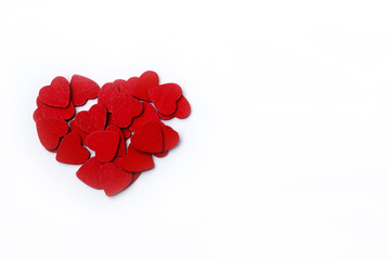 Red hearts on a white background.