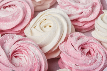 Pink sweet homemade airy zephyr or marshmallows