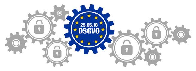"""Zahnräder Banner """"DSGVO"""" Europa"""