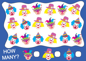 Counting educational game for children. How many clowns? Mathematic