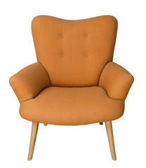 French orange wingback armchair with wooden legs isolated on white background including clipping path