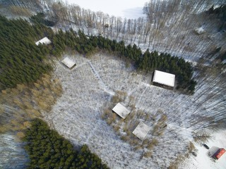Aerial view of reinforced concrete bunkers belonged to Headquarters of German Nazi Land Forces (Oberkommando des Heeres) from ww2 hidden in a forest in Mamerki, Poland (former Mauerwald, East Prussia)