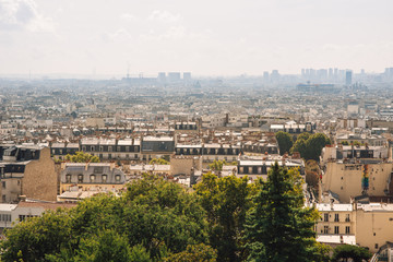 Panorama of Paris, France. View from Sacred Heart Basilica Sacre-Coeur