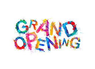 Grand opening. Vector splash paint letters
