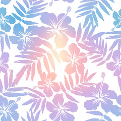 Light pastel trendy colors tropic flowers and leaves silhouettes vector seamless pattern