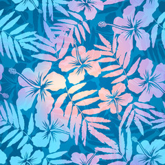 Blue and pink pearl colors tropic flowers vector seamless pattern
