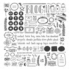 Hand drawn design elements for blog decoration. Doodles for blog design. Icons and cute drawings graphics