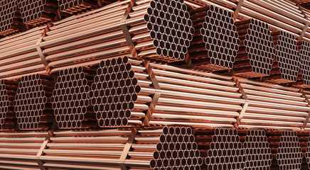 Warehouse of copper pipes. Rolled metal product. 3d illustration.