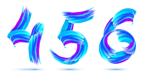 Blue grunge brush strokes vector 4,5,6 numbers set