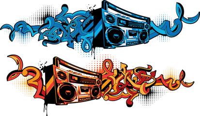 Papiers peints Graffiti Boom box in graffiti style