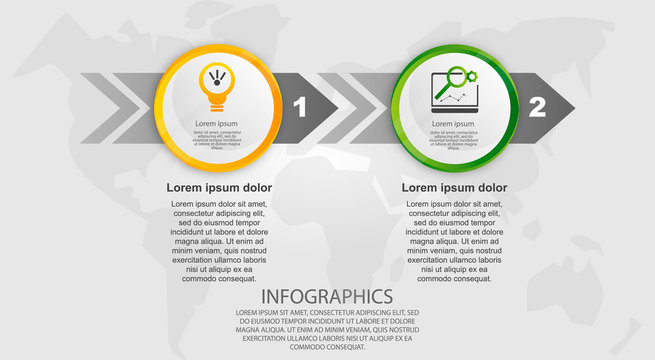 Modern vector illustration 3d. Template circle infographics with two elements and arrows. Designed for business, presentations, web design, diagrams with 2 steps, options, parts or processes