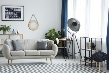 Living room with industrial lamp