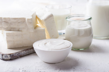 Printed roller blinds Dairy products Sour cream and fresh cottage cheese, organic dairy products