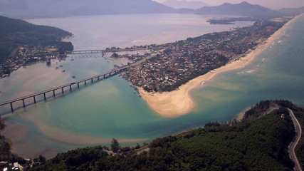 Aerial of Lang Co bay from Hai Van pass, Vietnam