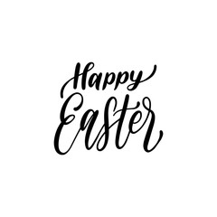Handwritten phrase Happy Easter in vector. Calligraphy illustration for holiday poster, greeting card etc.