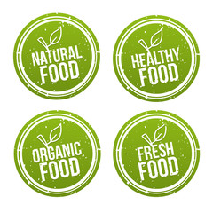 Wall Mural - Set of natural Food Badges. Healthy, Organic, Fresh Food. Vector hand drawn Signs. Can be used for packaging Design.