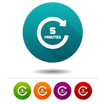 5 Minutes rotation icon. Timer symbol sign. Web Button.