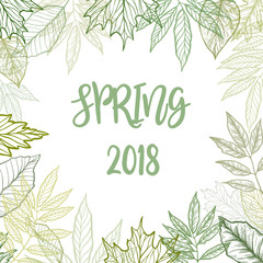 Hand drawn watercolor illustration. Background with green leaves. Botanical design elements. Hello Spring!