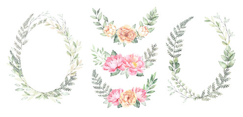 Watercolor illustration. Botanical wreaths with green branches and peonies. Spring mood. Floral Design elements. Perfect for invitations, cards of international women's day, prints and posters