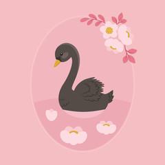 Black swan swimming in floral lake