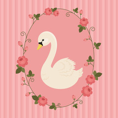 White swan in floral frame on pink background