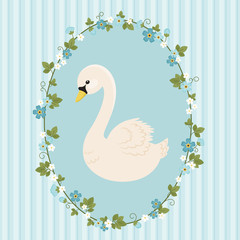 White swan in floral frame on blue background