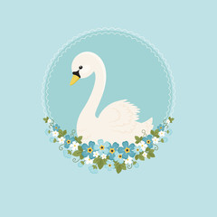 White swan with forget-me-nots flowers on blue background