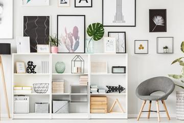 Armchair and shelf