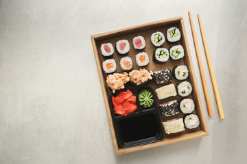 Top view set of sushi maki and rolls