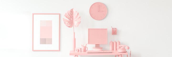 Poster in peach workspace interior