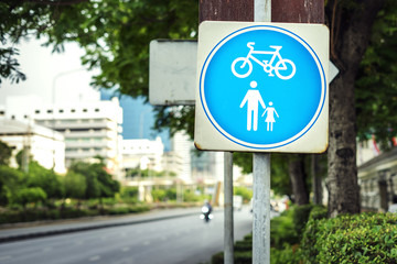 Bicycle and pedestrian road traffic sign