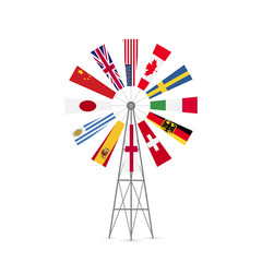 Windmill Flags Illustration