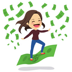Young woman with casual clothes happy riding green banknote