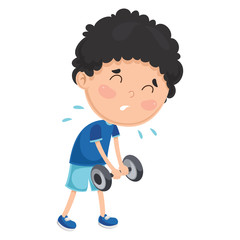 Vector Illustration Of A Boy With Dumbbell