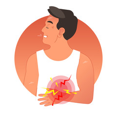 Painful stomach concept vector illustration with human torso.  Gastric health problems.