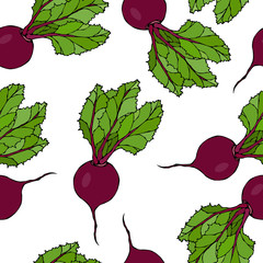 Seamless Background of Ripe Beets. Endless Pattern of Beetroot with Top Leaves. Fresh Vegetable Salad. Hand Drawn Vector Illustration. Savoyar Doodle Style.