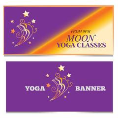 Moon banner set. Yoga classes concept print