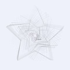 Creative abstract cyclic spinning spiral star on a gray background Pattern of swirling metal lines for design and creativity Linear technology Decorative design element Abstract background web Vector